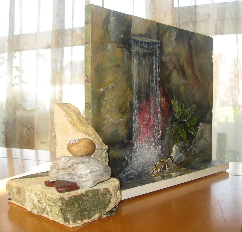 waterval,  duoschilderij sculpture
